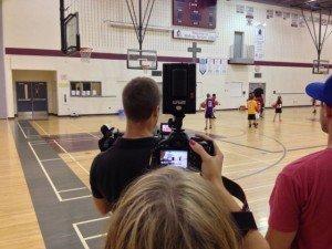 Toronto video production company, Signature Video Group, sets up shots with Randi Lotsberg and Chris Stasiuk