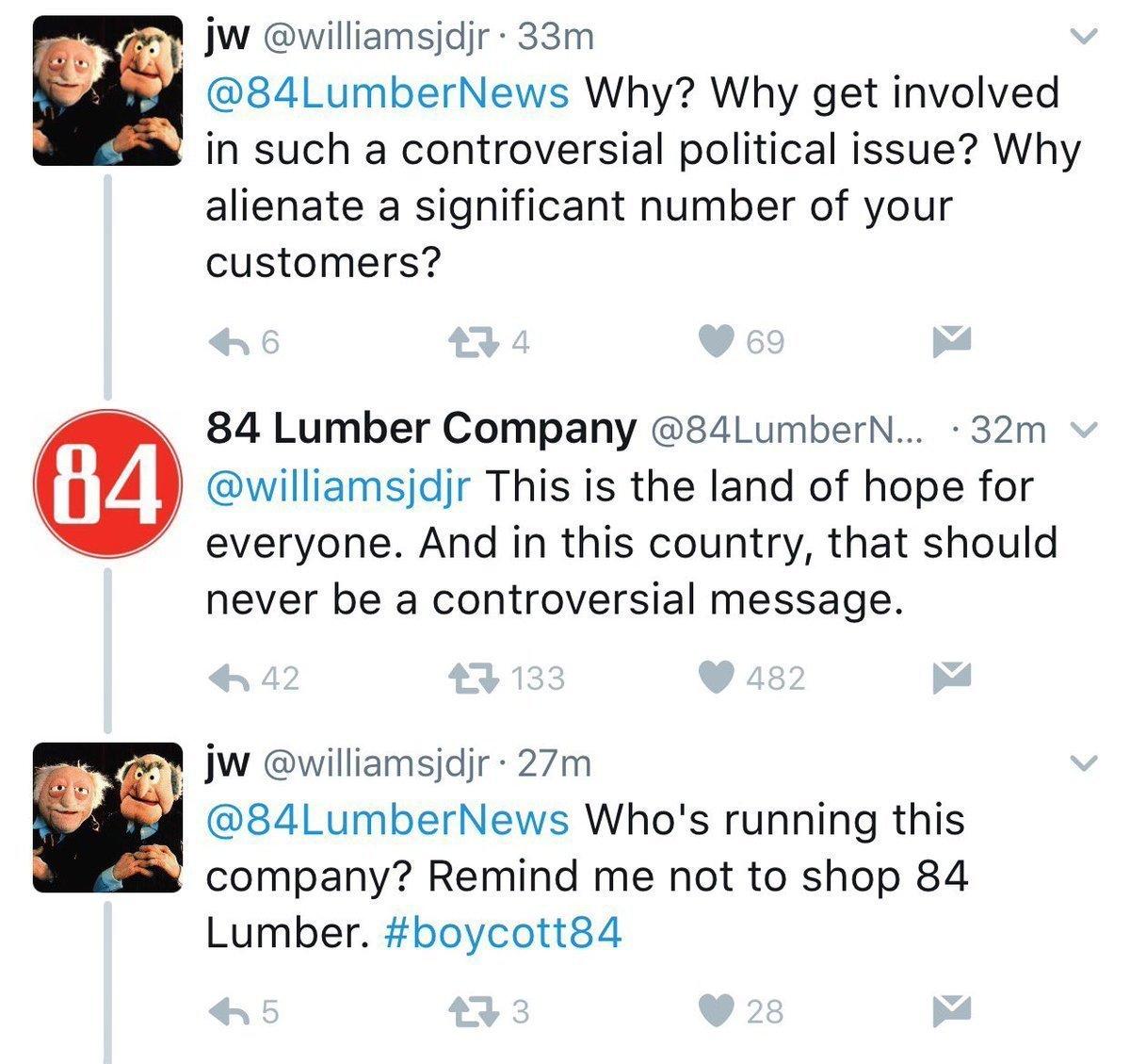 84 Lumber Twitter Response for Super Bowl Ad
