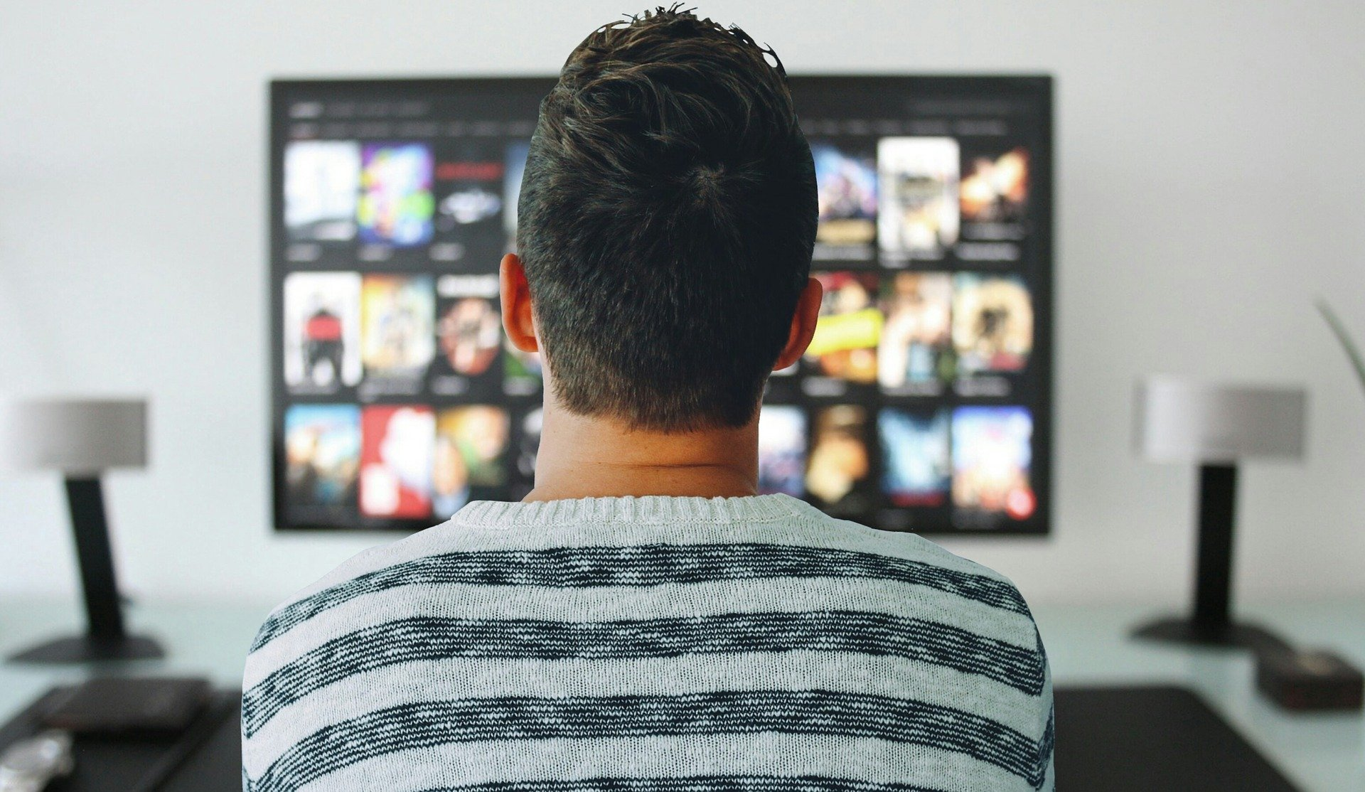 video production watching tv commercial